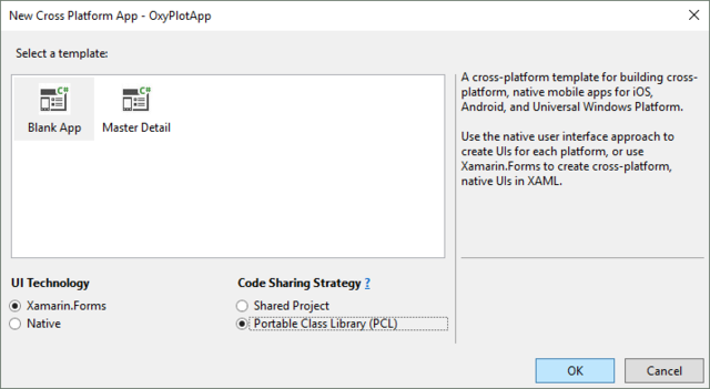 Blank App、PCLを選択します。